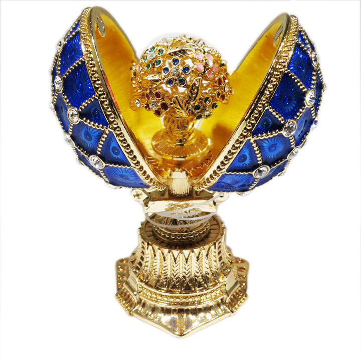Russian Style Opening Egg with a Bouquet (blue), 1.5