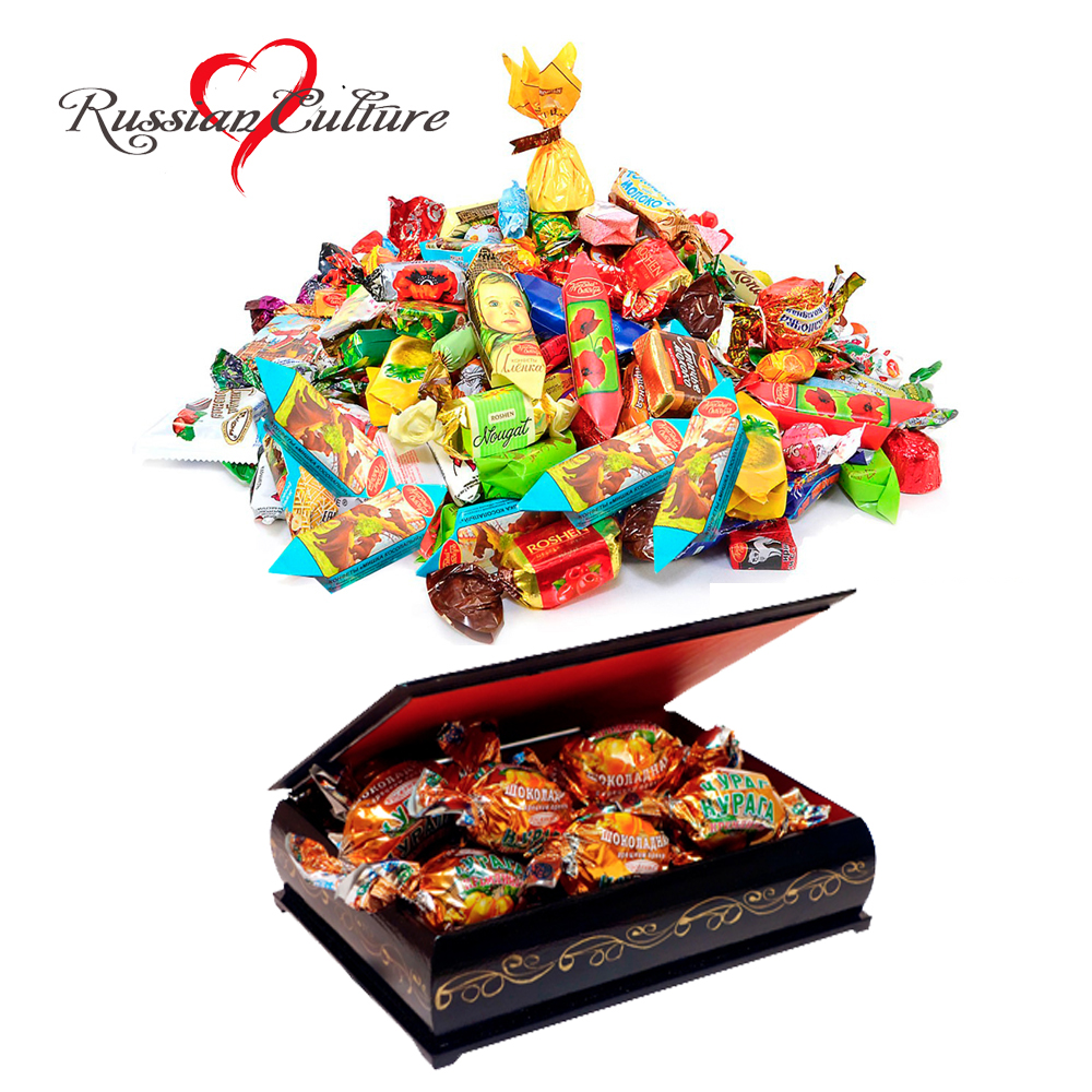 Assorted chocolate and caramel candies in a gift box