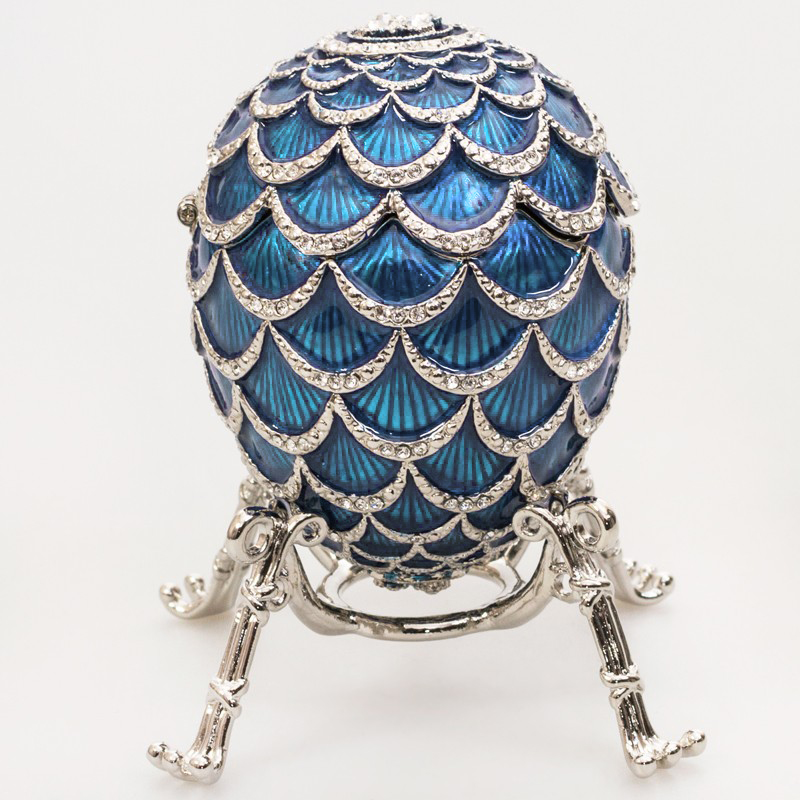 Light blue faberge egg jewelry box pine cone with the clock exquisite russian style egg aloadofball Choice Image