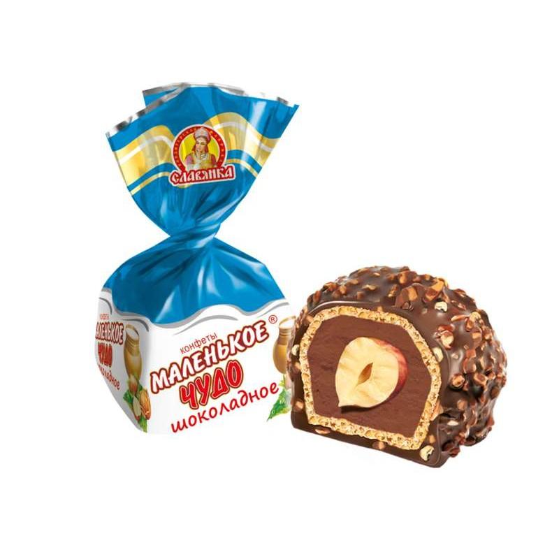 Waffle Candies Chocolate Filling & Nuts, Little Miracle, Slavyanka, 500 g/ 1.1 lb