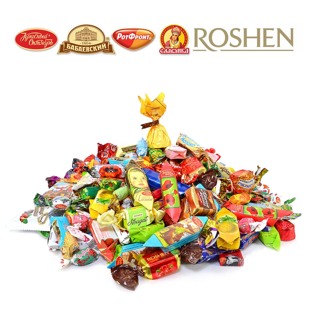 Assorted chocolate and caramel candies in a New Year corrugated cardboard box