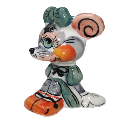 Symbol of the Year 2020 Exclusive Gzhel Souvenir Rat with green bow Porcelain Hand painted, 3.1