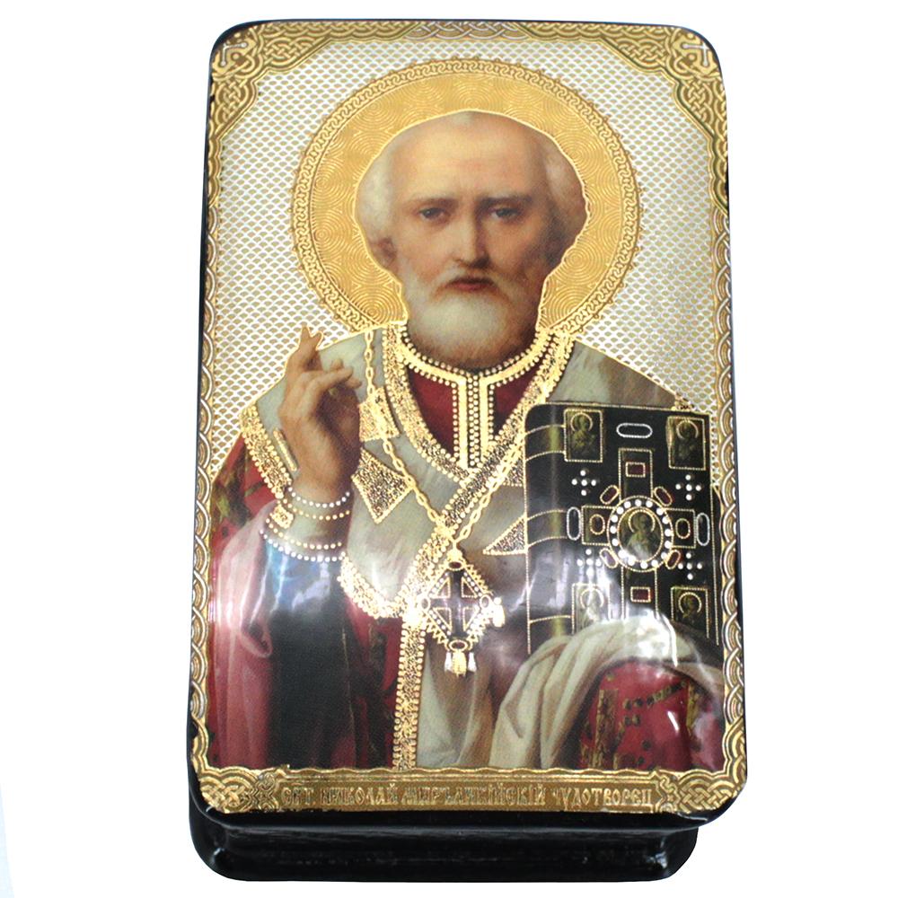Lacquered Jewelry Box, Icon Saint Nicholas of Myra
