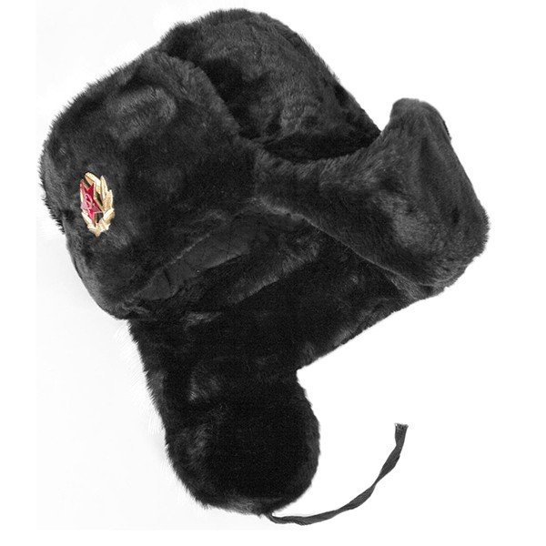 Ushanka, size 62/XL. Russian Military Hat with Soviet Army Soldier Insignia, Black
