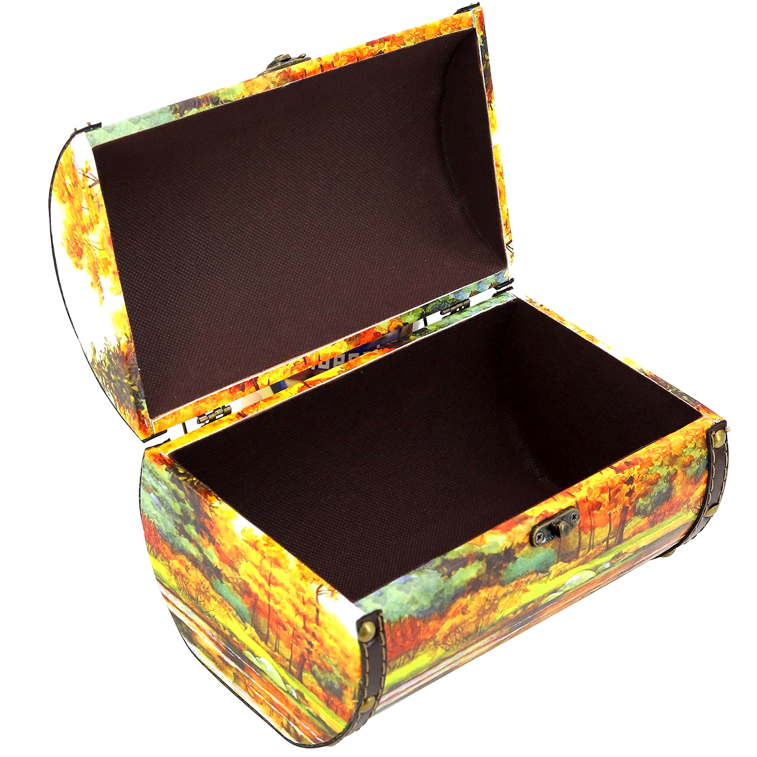 Exclusive Sweet Gift (Only Chocolate Candy Inside) Autumn Chest, Wood+Leather, 0.9 kg/ 2 lb