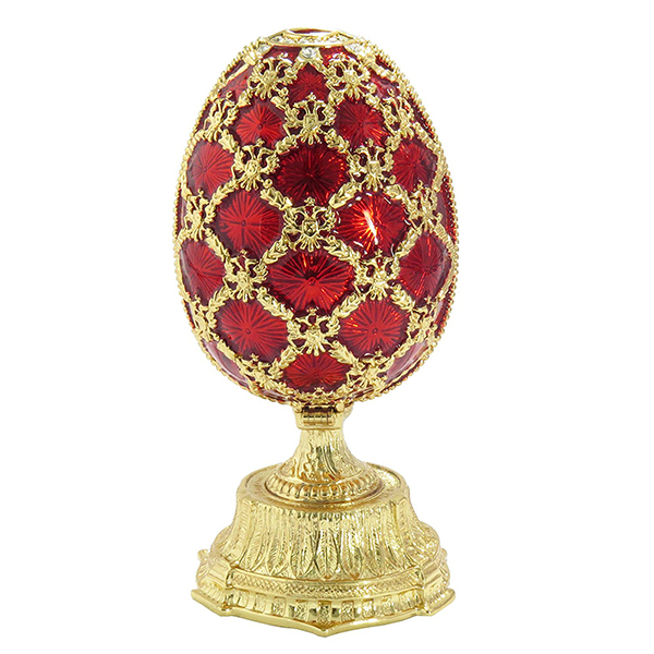 Russian Style Opening Egg with a Miniature of Saint Basil's Cathedral RED, 2.5