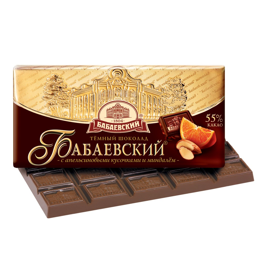Babaevsky Dark Chocolate with Slices of Orange and Almond, 3.52 oz / 100 g