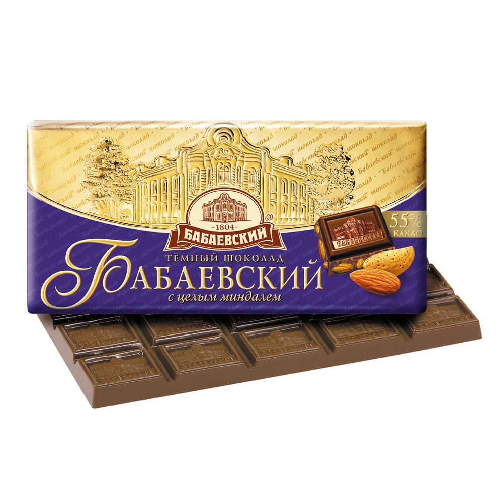 Babaevsky Dark Chocolate with Whole Almond, 3.52 oz / 100 g