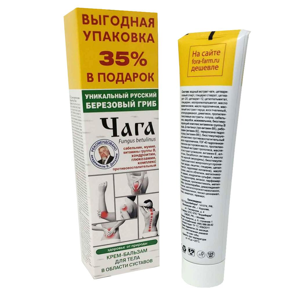 Cream-Balm for Joints and Spine, Chaga, Fora-Farm, 125 ml/ 4.23 oz
