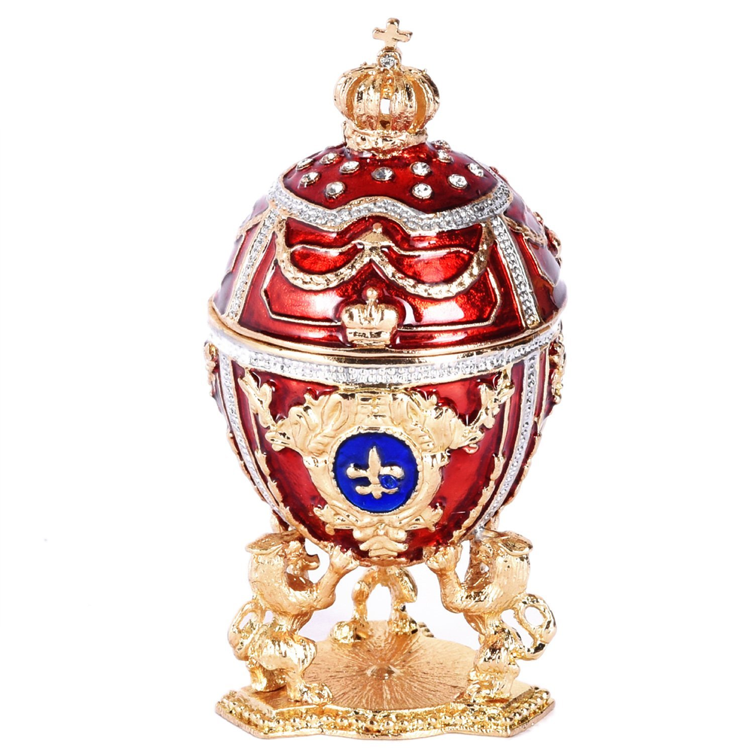 Red Russian Style Egg Trinket Box with Lions and Crown, 2.5