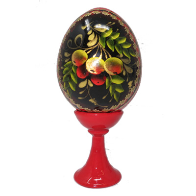 Souvenir Wooden Egg Zhostovo pattern 1pc