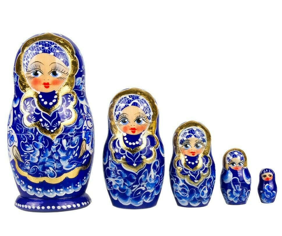 "4/"" Russian Nesting Dolls Matryoshka Gzhel  Pattern Hand Painted in Russia 5 pcs"