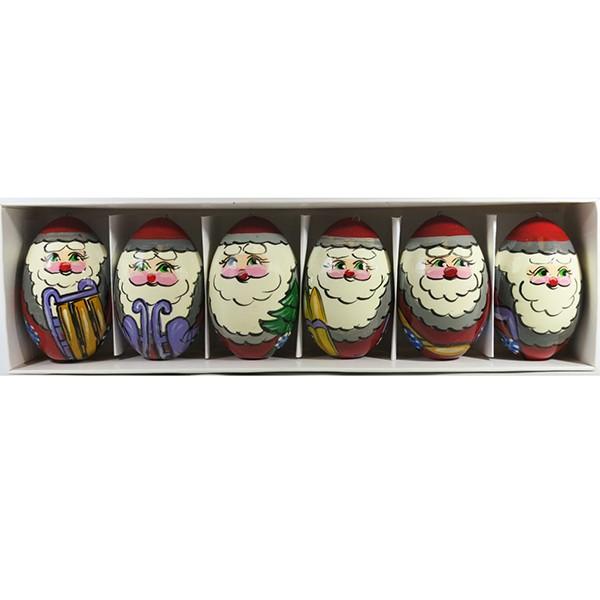 Jolly Santa Clauses Handmade Wooden Christmas Ornaments, 6 pcs, 2