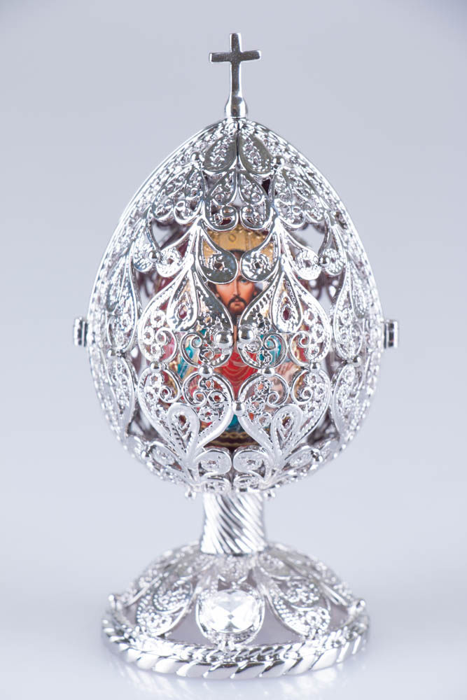 Easter Gift Ideas Easter Russian Style Openwork Silver Egg With Wooden Egg and Swarovski Crystals, 4
