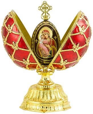 """Duck Egg """" Double Cross """" With Wooden Egg Red with Swarovski Cristals"""