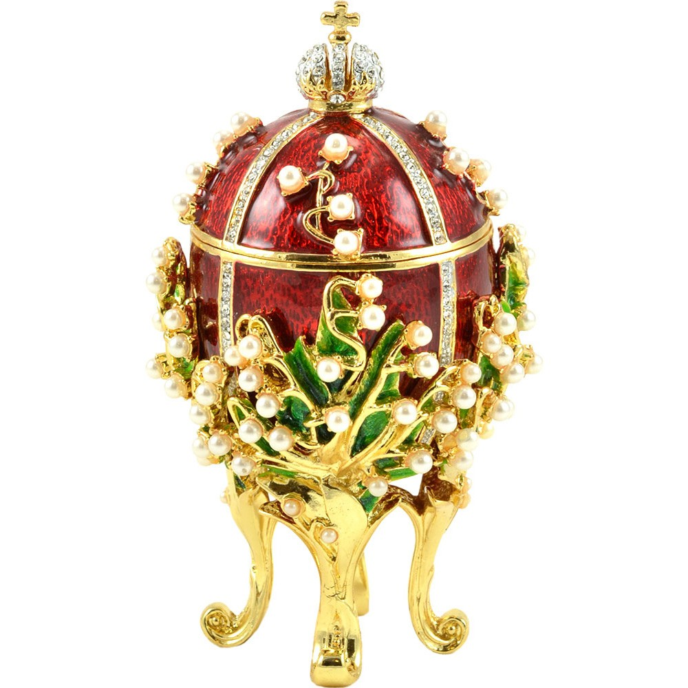 "Faberge Style Easter Egg ""Lily of the Valley"" Small Red with Swarovski Crystals"