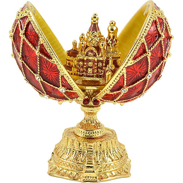 Easter Gift Russian Style Easter Egg with a Miniature of The Church of the Savior on Spilled Blood RED, 1.5