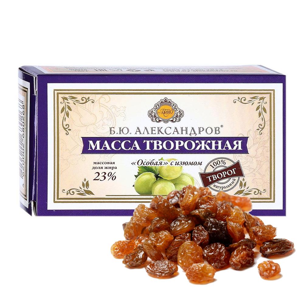 Cottage Cheese Mass w/ Raisins 23%, B.Y. Alexandrov, 100 g / 0.22 lb