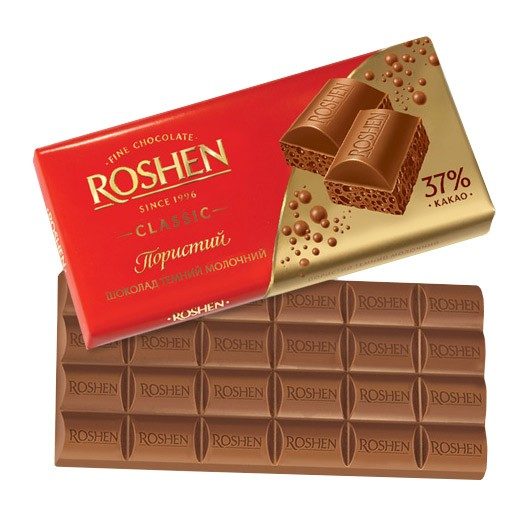 Roshen Aerated Dark Milk Chocolate, 3.52 oz / 100 g