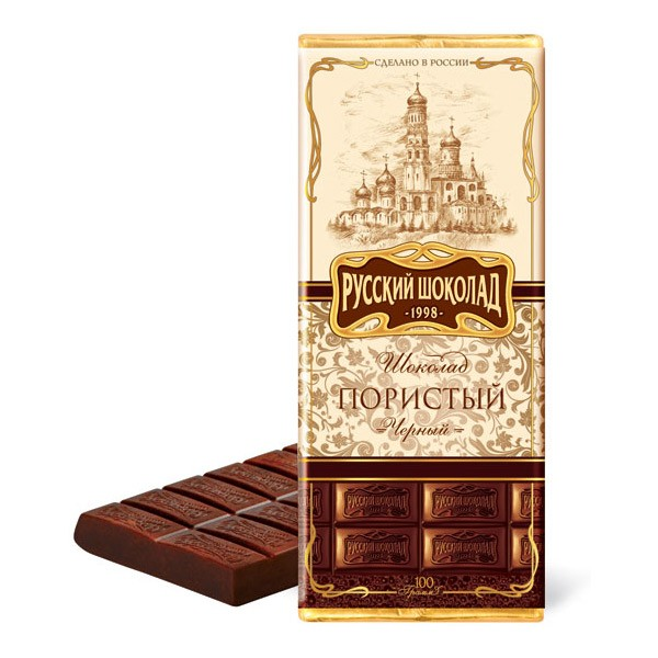 Russian Dark Aerated Chocolate, 3.52 oz / 100 g