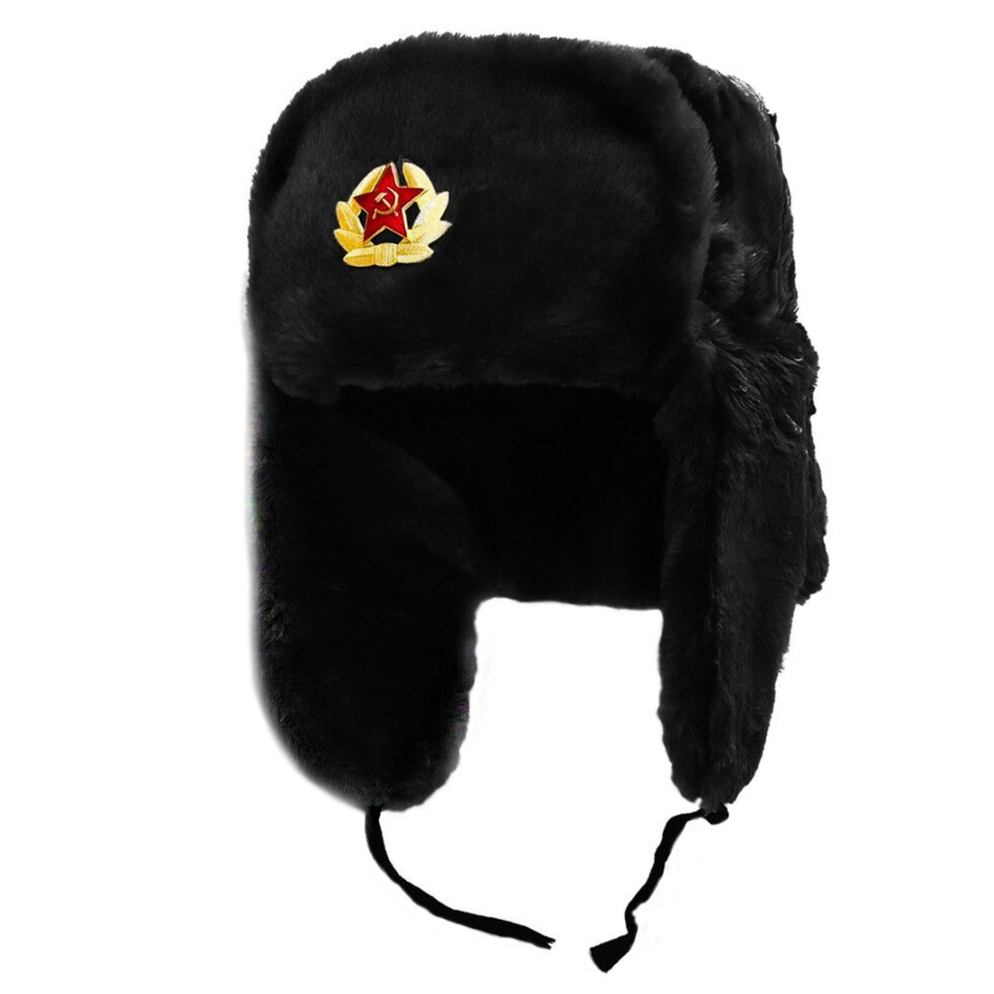 Ushanka, size 58/M. Russian Military Hat with Soviet Army Soldier Insignia, Black