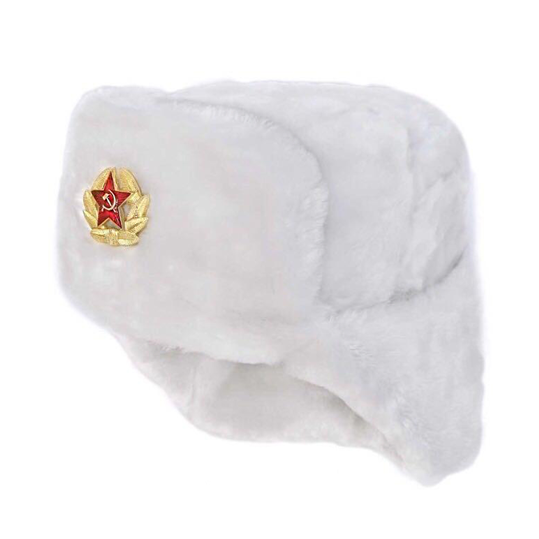 Ushanka, size 56/S. Russian Military Hat with Soviet Army Soldier Insignia, White