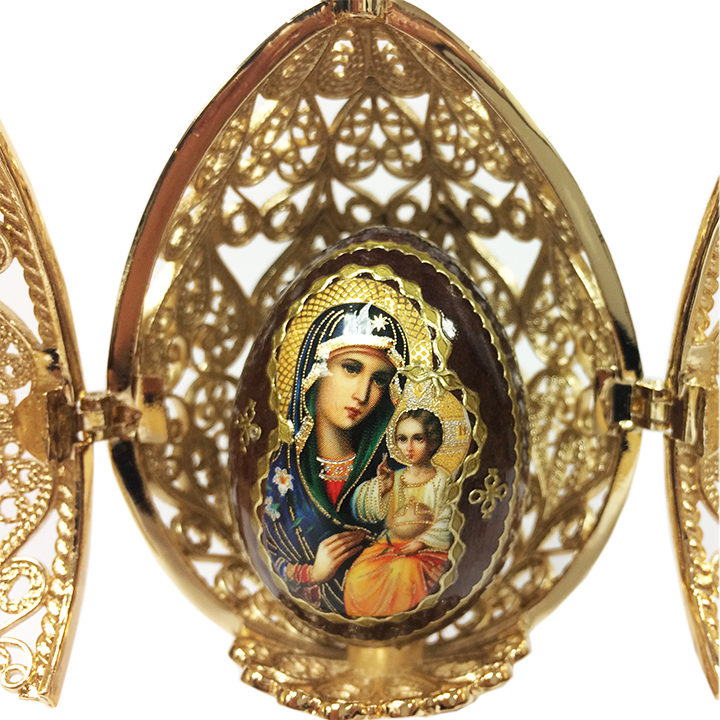 Easter Gift Russian Style Easter Egg Golden Openwork with a Wooden Egg, 4