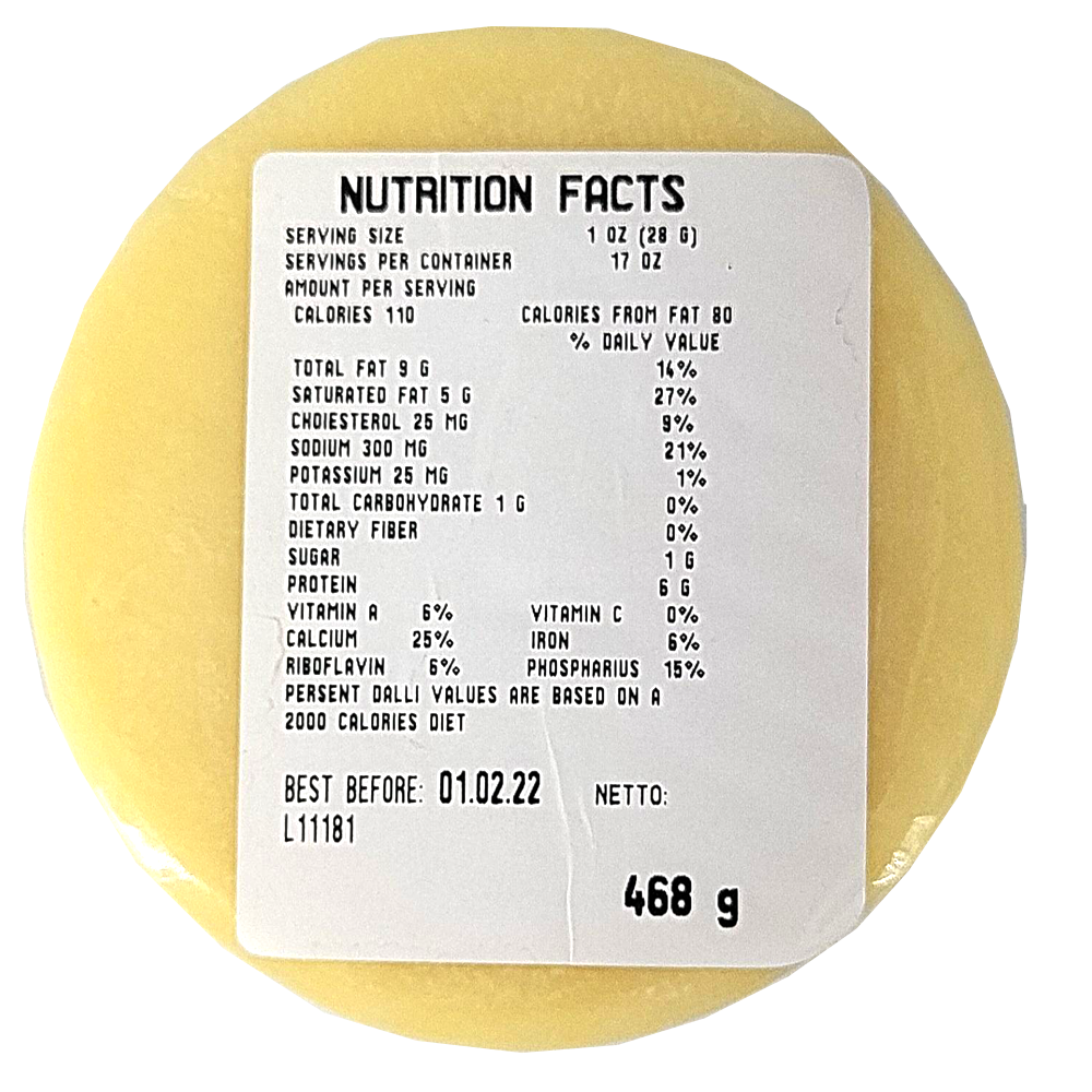 Cow's Milk Cheese, 45% Fat Content, Balkania, 468 g/ 1.03 lb