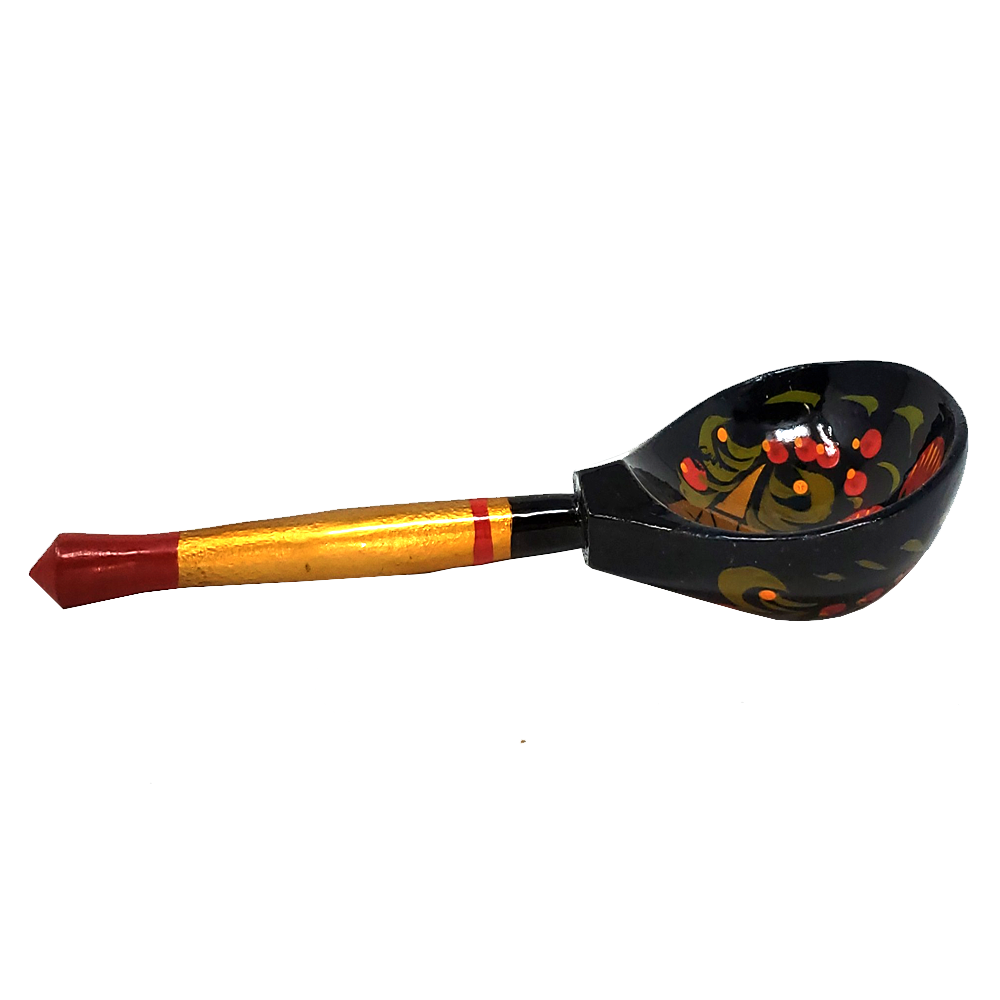 Wooden Spoon Khokhloma No. 1, Hand-Painted, 7.5 inches