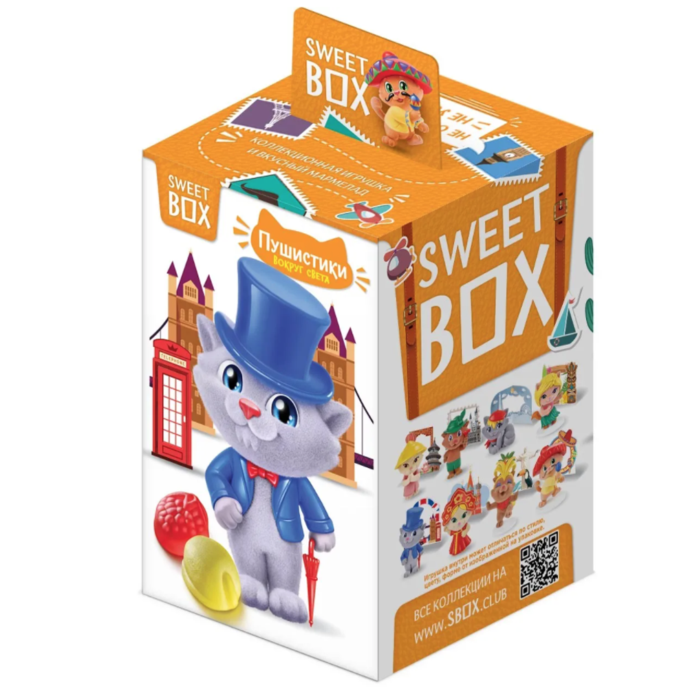 Pack 2 Gummies with Toy in Box, Collection of Fluffy Cats Around the World, Sweet Box, 10 g x 2