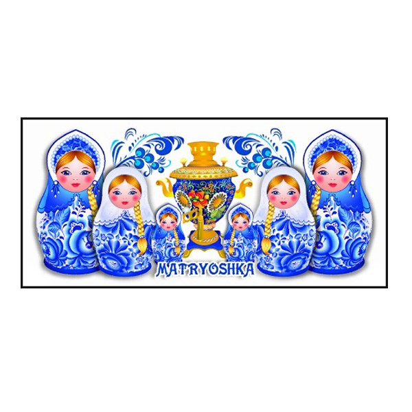Souvenir Mug Gzhel/ Nesting Dolls and Samovar, 3.75