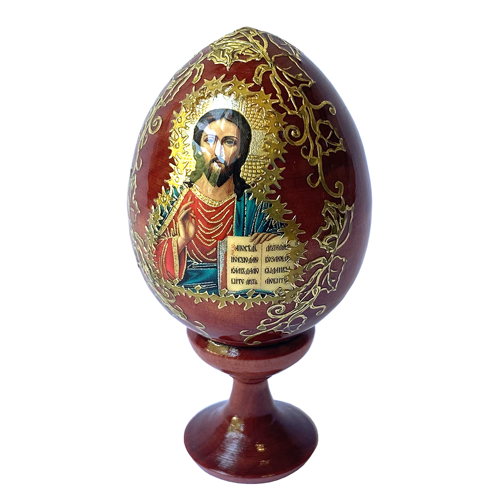 Russian Souvenir Wooden Egg Icon Jesus Christ Almighty Egg height 2.75