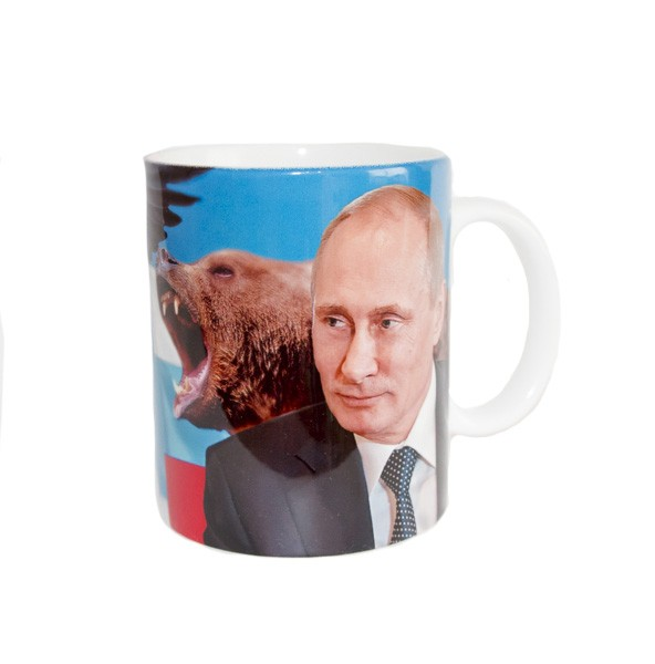 Putin - Obama Tea & Coffee Mug (Russian Traditional Souvenir), Size 3.75