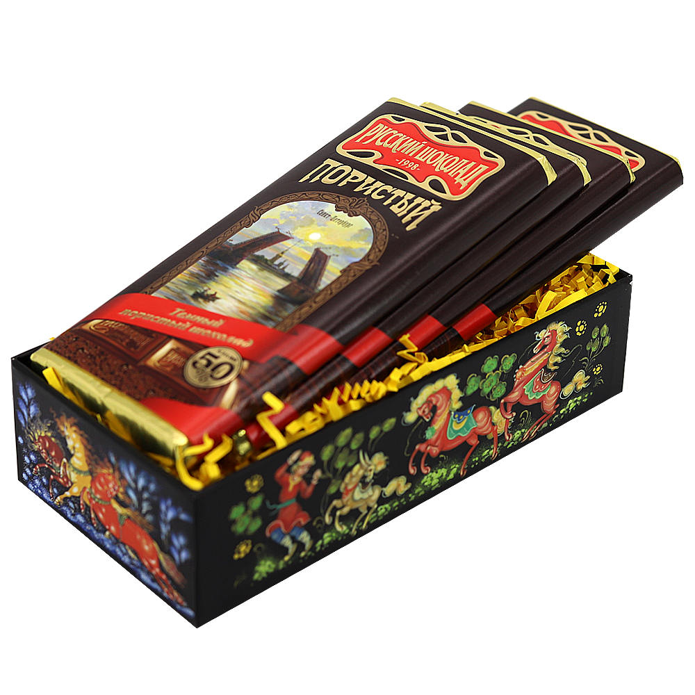 Pack 4 Dark Aerated Russian Chocolate in a Gift Box (Palekh Painting), 90 g x 4 pcs