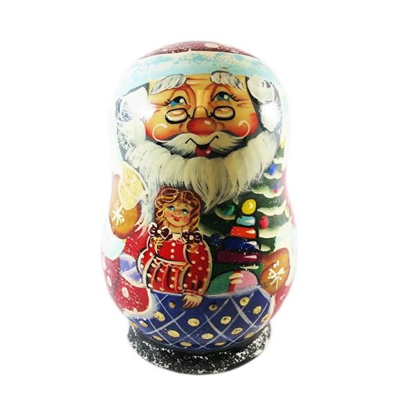 Santa Claus Nesting Doll Matryoshka Korobeynik with 5 Figurines, 4.5