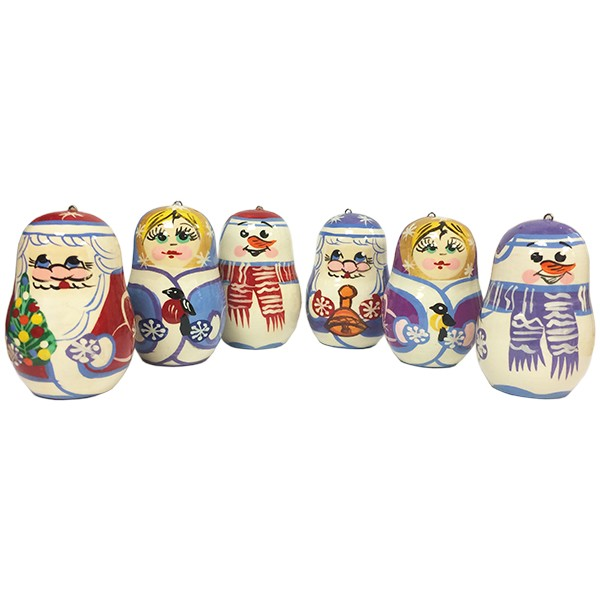 Russian & American Christmas Tree Ornaments, 6 pcs