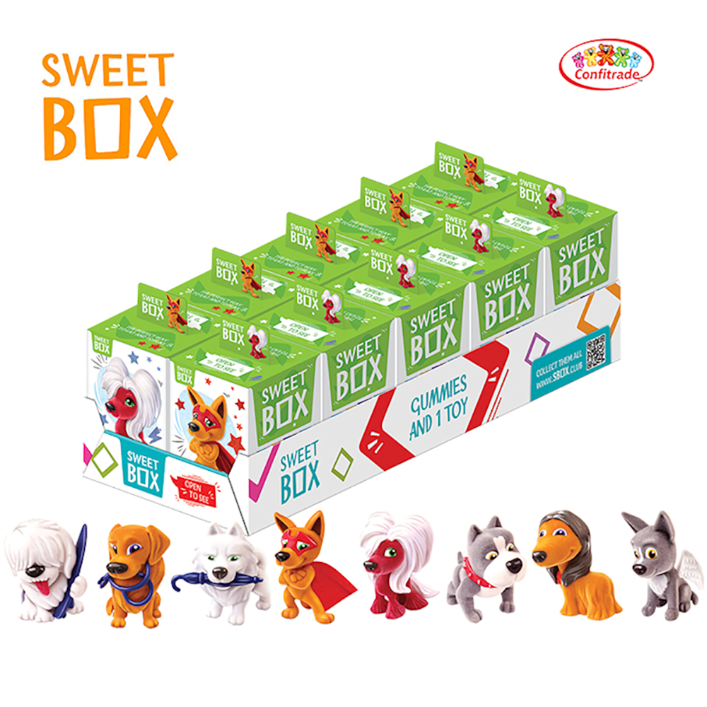 Pack 2 Gummies with Toy in Box, Collection of Fluffy Superhero Puppies, Sweet Box, 10 g x 2
