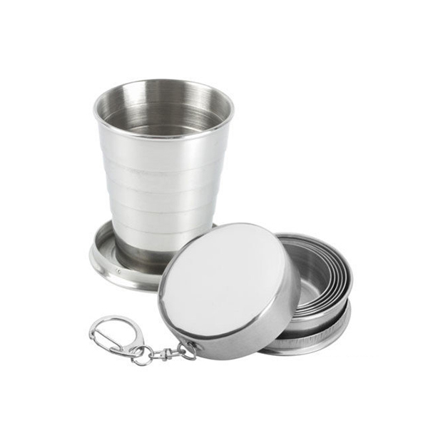 Stainless Steel Collapsible Shot Glass With Soviet Badges, 2.54 oz / 75 ml