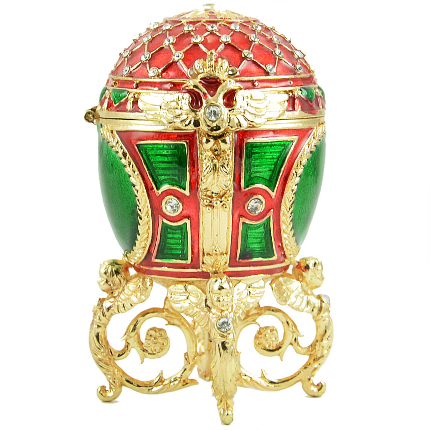 Easter Gift Russian Style Easter Egg Trinket Box with Mesh Pattern, Crystals and Angels (red and green), 3.5