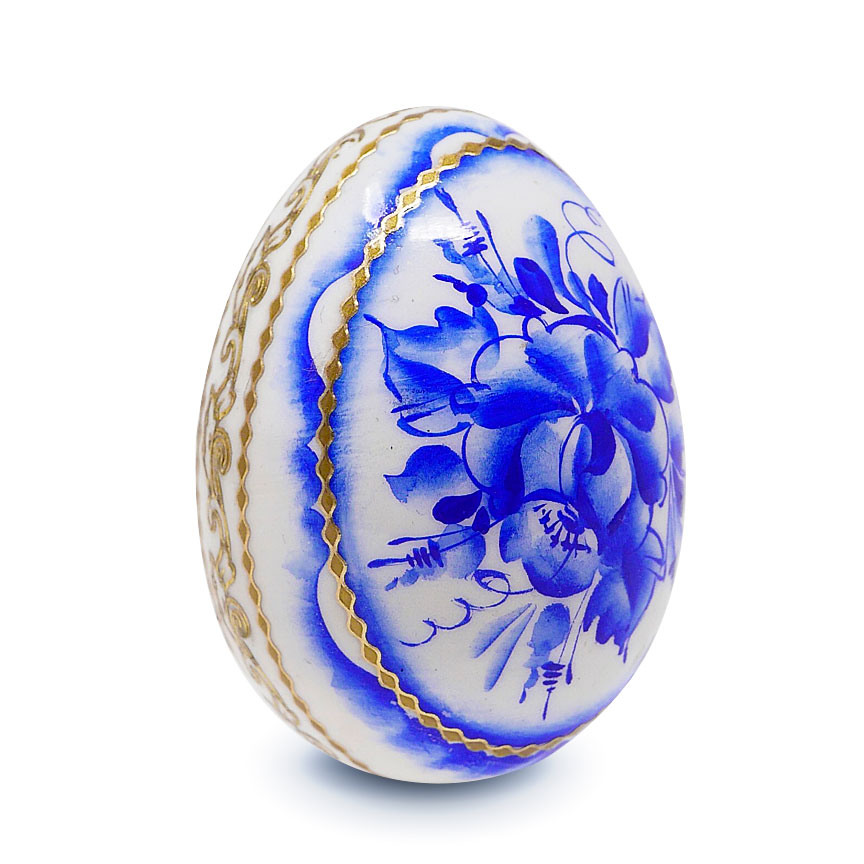 Souvenir Wooden Egg Gzhelle Pattern