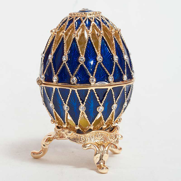 Easter Gift Openwork Russian Style Egg with Crystals (2 rows) BLUE, H 2.25