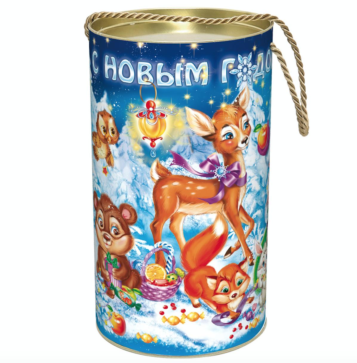 Sweet Christmas Gift Russian Candy, Gift Bag, Tube, 0.9 kg/ 2 lbs