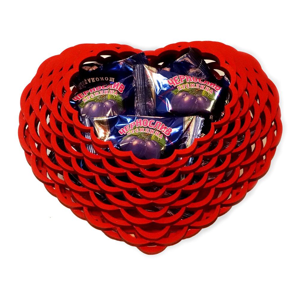 Wooden vase for sweets - Heart, Prunes in chocolate KREMLINA, 400g