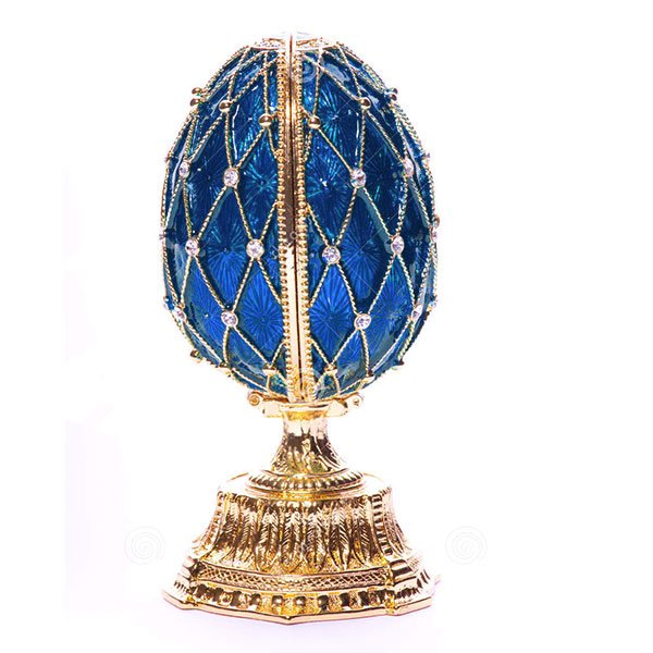 Russian Style Egg Mesh Pattern with Crystals and Saint Basil's Cathedral (BLUE), 1.5