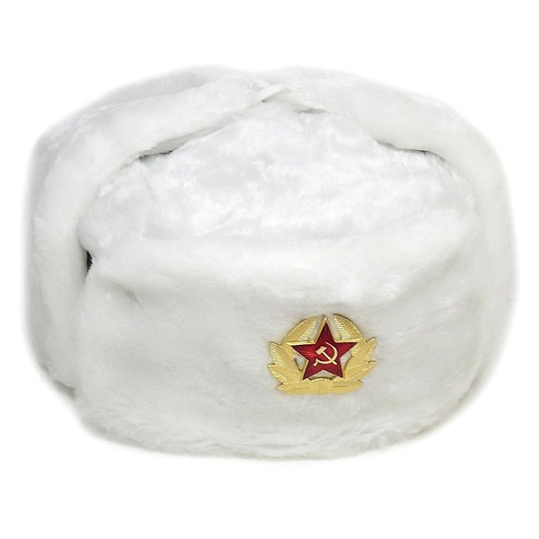 Russian Soviet Army Fur Military Cossack Ushanka Hat with Soviet Army  Soldier Insignia 81fd0cf4a0c