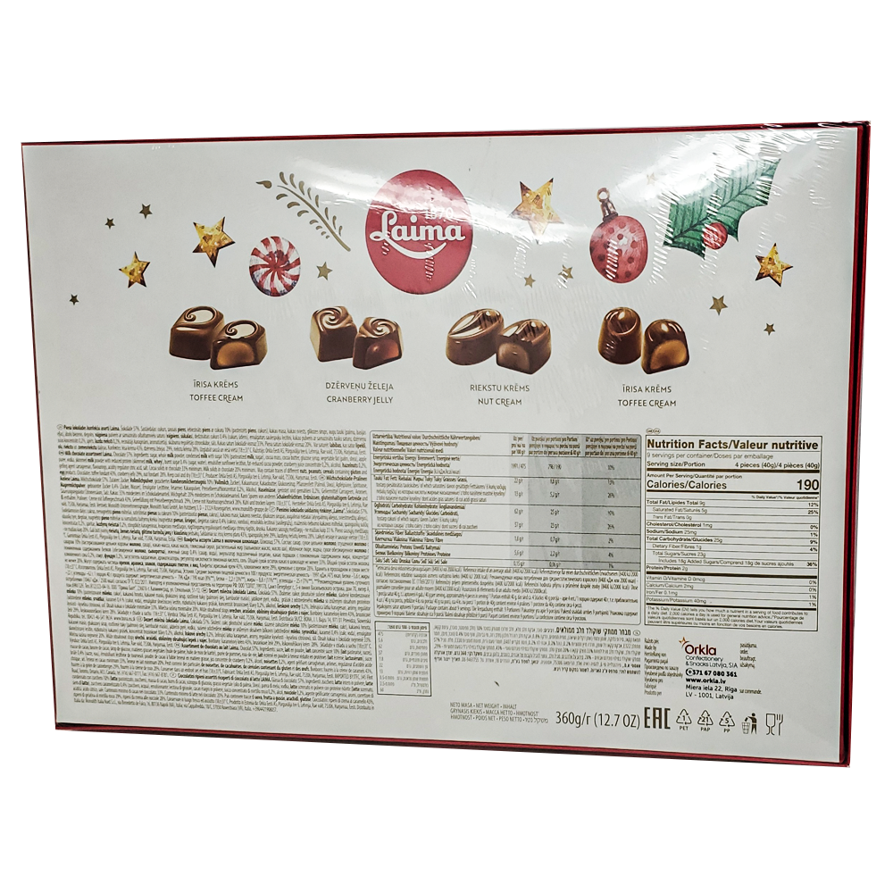 Assorted Chocolates Piena, Laima, 360 g/ 0.79 lb