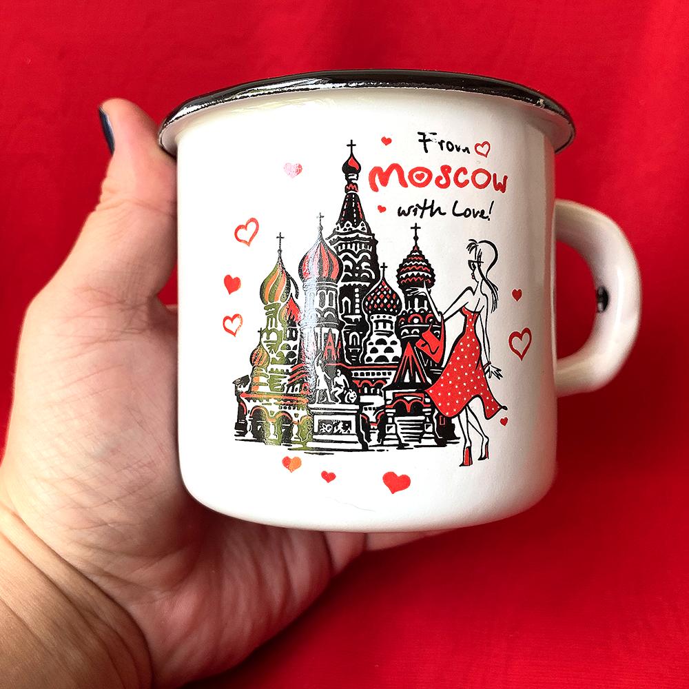 Russian Souvenir Enameled Metal Mug, Moscow, Height 8cm, Diameter 9cm, Capacity 300ml