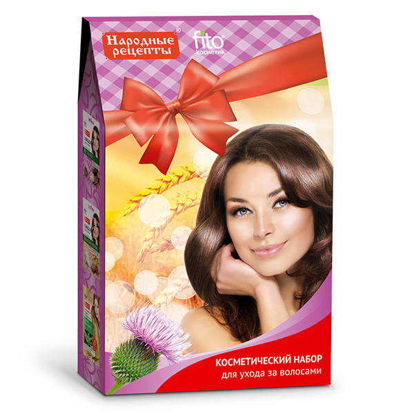 Mask Gift Set Hair Care Folk Recipes  , 2 x 1 oz (30 ml), 1 x 0.84 oz (20 ml)