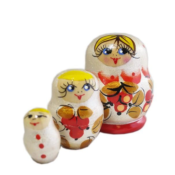 Handmade Pearl Colored Tiny Nesting Doll, 3 pcs, 1.5