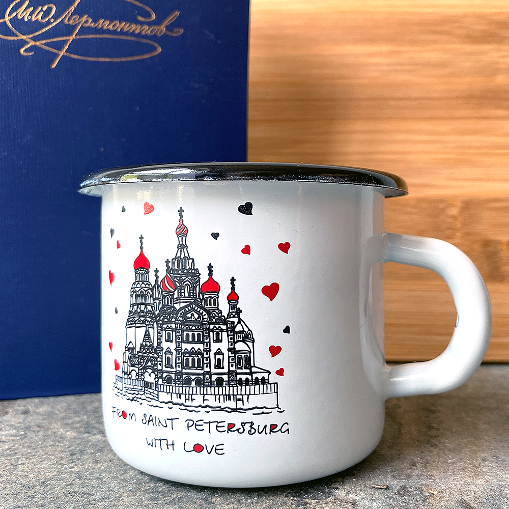 Russian Souvenir Enameled Metal Mug, St. Petersburg, Height 8cm, Diameter 9cm, Capacity 300ml